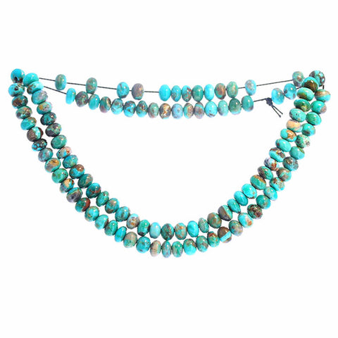 FOX TURQUOISE BEADS 6mm Teal Blue Rondelle 18""