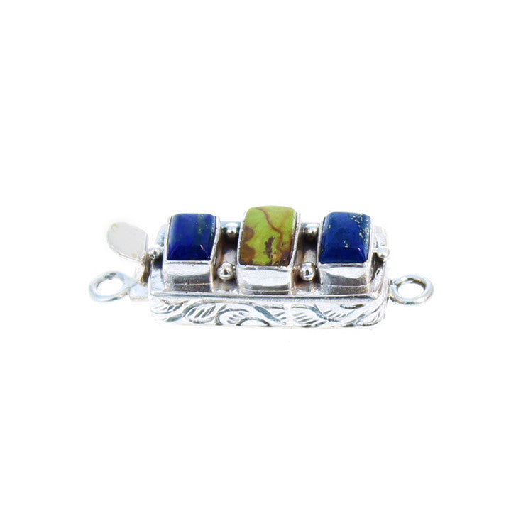 GASPEITE and LAPIS CLASP STERLING 3 STONE