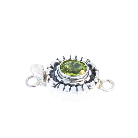 PERIDOT FACETED CLASP Moon Petal Design 9x7mm