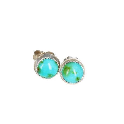 Sonoran Gold Turquoise Earrings Lime Green Blue Sterling Posts