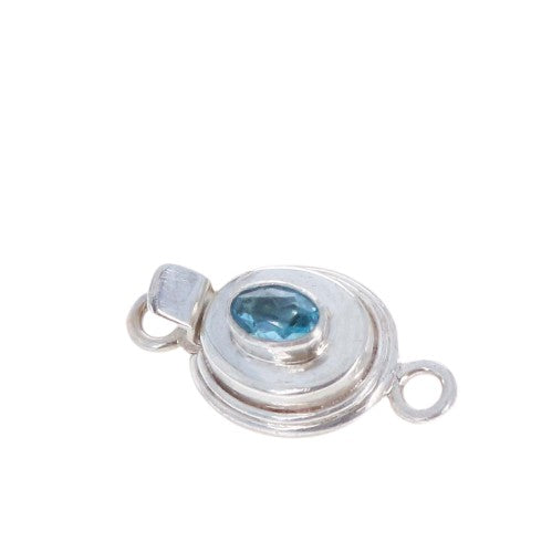 AAA Blue Topaz Faceted Sterling Clasp Small