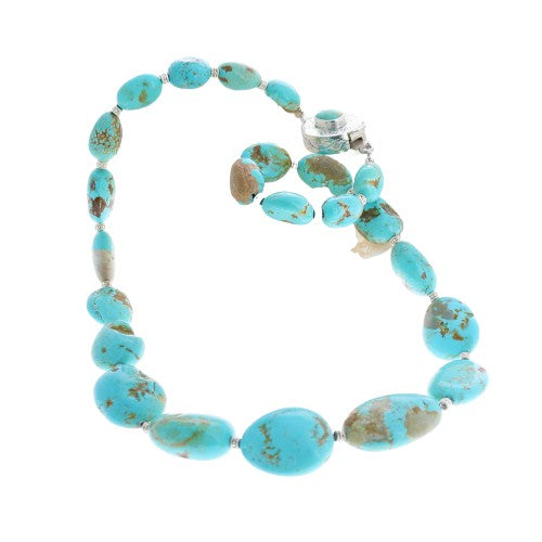 MEXICAN TURQUOISE Beads Necklace Sterling Silver Large Free Form
