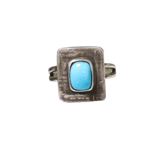 RING Sleeping Beauty Turquoise Sterling Faceted Sze 5