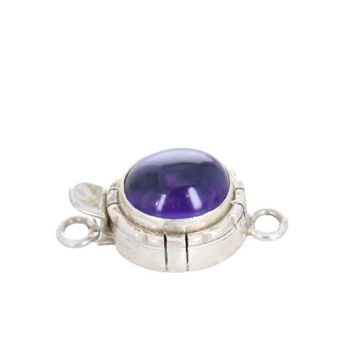 AMETHYST CLASP Sterling Oval Southwestern Design 10x12mm