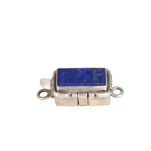 Lapis Clasp Bar Shaped Southwest Style Sterling 16x8.5mm