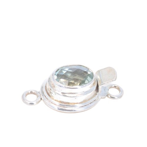 Green Amethyst Clasp Sterling Oval Faceted 10x8mm