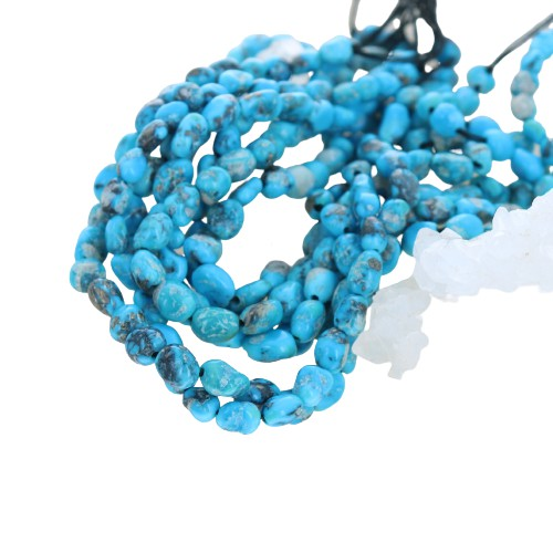 BRILLIANT BLUE Ithaca Turquoise Beads Kingman 5-6mm 8""