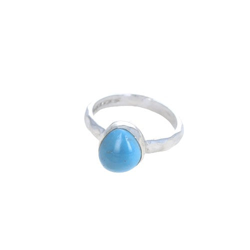 RING Antique Swedish Glass Iron Ore Sterling Silver Blue Size 7