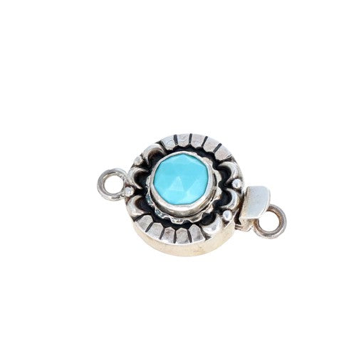 FACETED TURQUOISE Clasp Oval 8mm Sterling