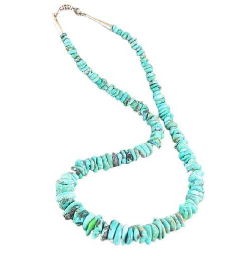 BLUE MULTI CARICO LAKE TURQUOISE NUGGET BEADS NECKLACE 17.5""