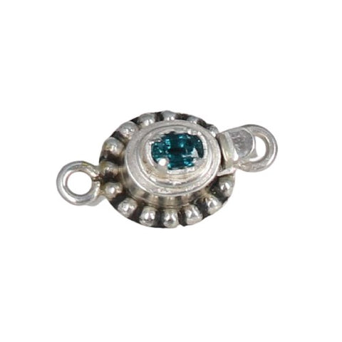 Faceted TEAL KYANITE Clasp Sterling Silver 6x4mm Prong