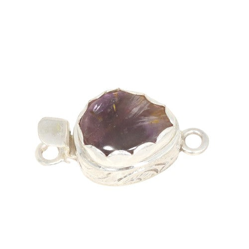 Amethyst Cacoxenite Clasp Super 7 Sterling Medium
