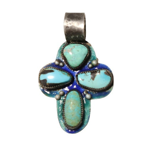 CARICO LAKE Turquoise 4 Stone Cross Pendant or Necklace Enameled