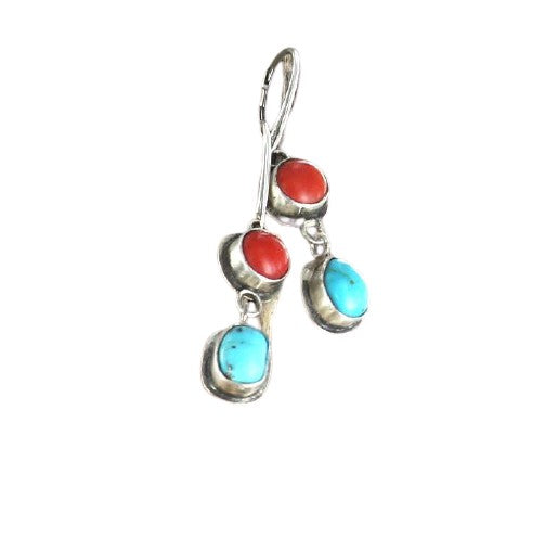 CORAL and TURQUOISE EARRINGS Sterling Leverback