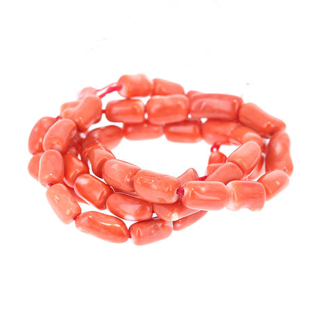 SALMON CORAL BEADS Barrel Shape 9.5x5.5 to 11mm