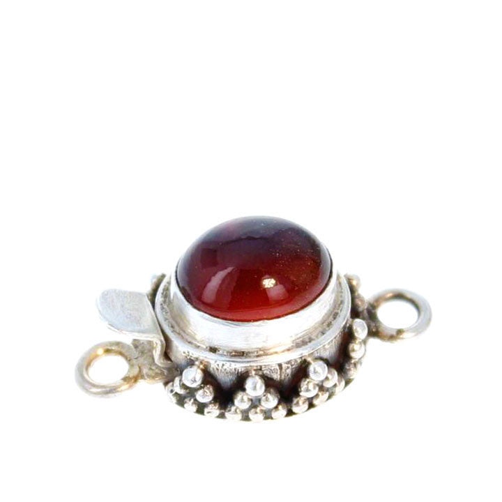 HESSONITE GARNET CLASP Granulated Design Sterling