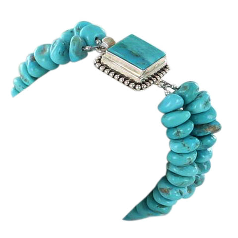 KINGMAN TURQUOISE NUGGET BRACELET STERLING SILVER 2 STRAND - New World Gems - 5