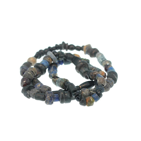 "ANCIENT FAIENCE and ROMAN Glass Beads 13"" Strand Black"