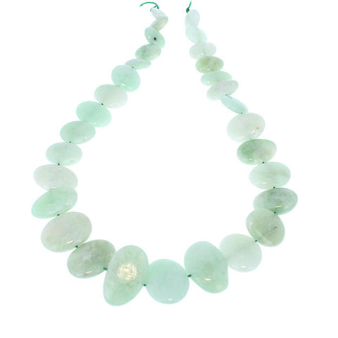 AQUAMARINE BEADS Celadon Green Graduated Large Side Drilled