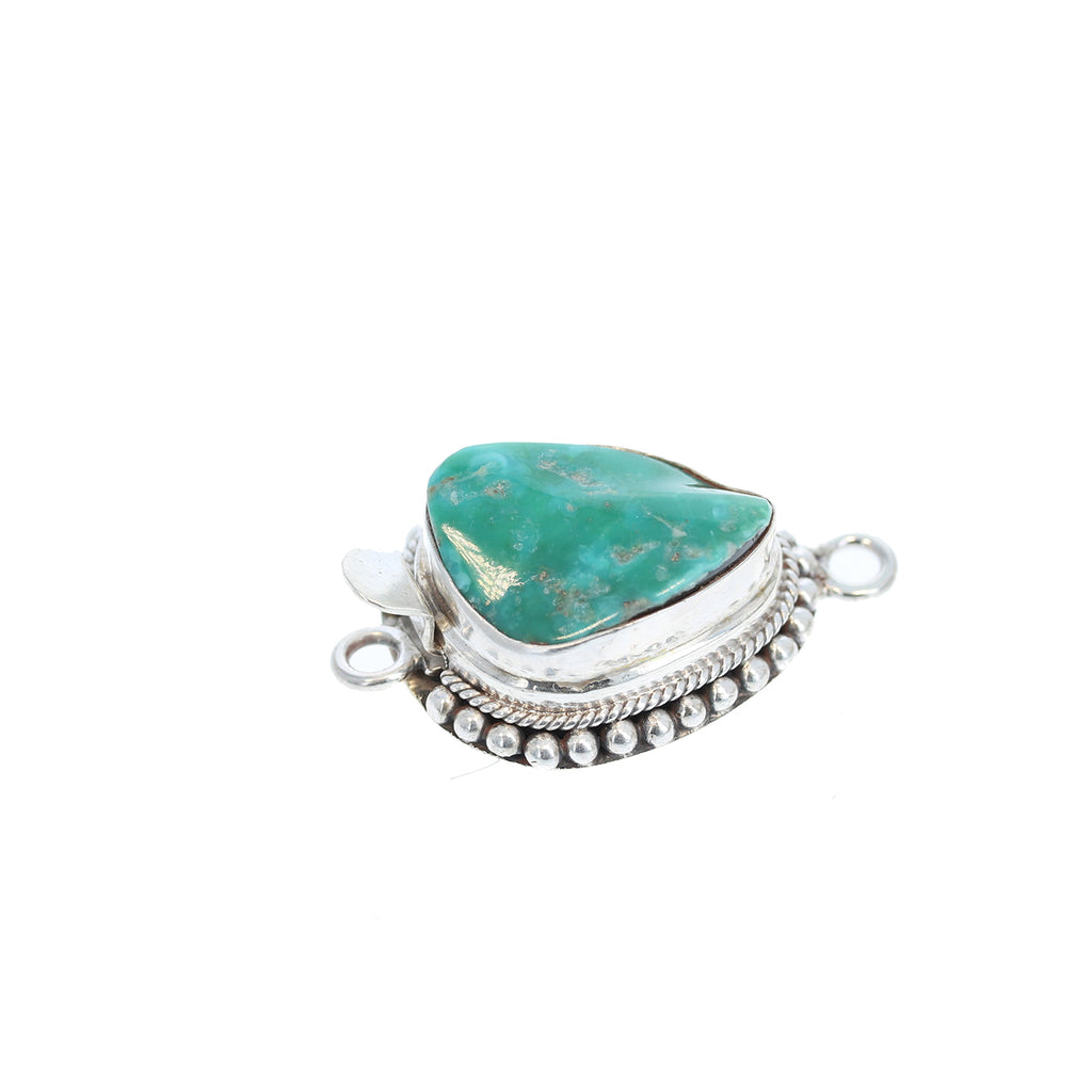 MEXICAN TURQUOISE CLASP Free Form Sterling Green Blue