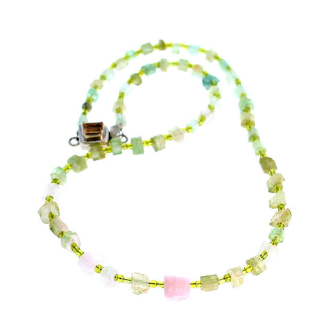 TOURMALINE CRYSTAL BEADS NECKLACE GREEN PINK 16.25""