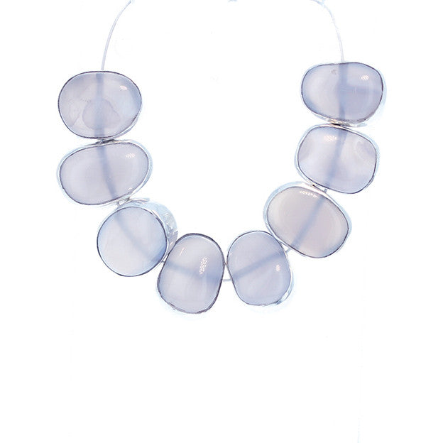 Sterling Silver Rimmed Blue Chalcedony Beads 8 Pcs