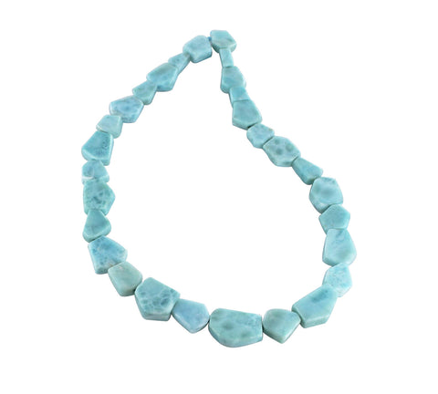 FACETED LARIMAR FREE FORM BEADS 18-23mm - New World Gems - 1