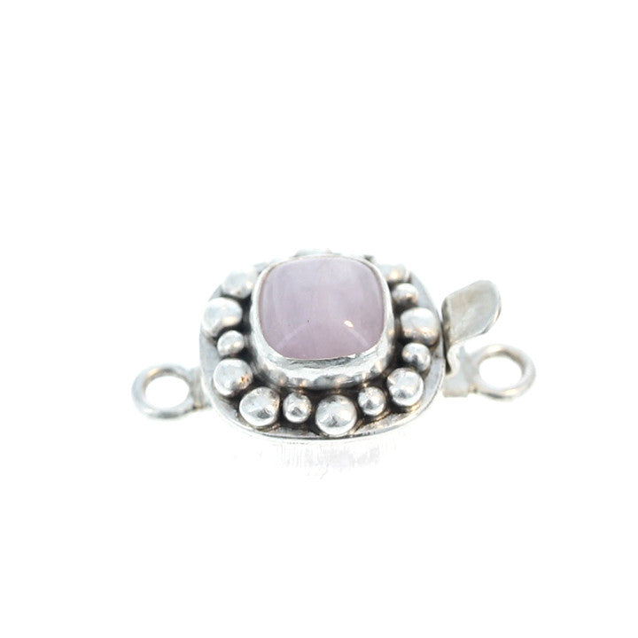 KUNZITE CLASP CUSHION Sterling 8mm Dot Design