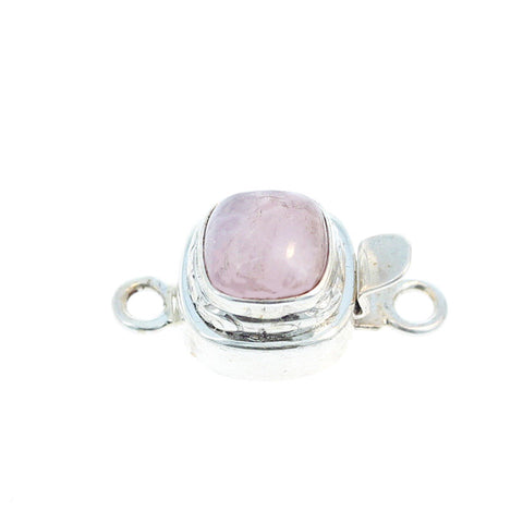 KUNZITE CLASP CUSHION Etched 8mm Sterling