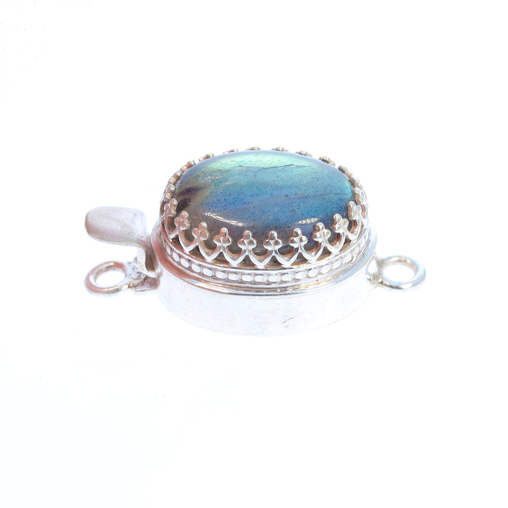 Labradorite Clasp Sterling Crown Setting 18x13mm