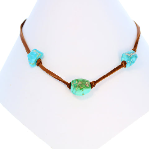 TURQUOISE PENDANT NECKLACE Sterling Leather Nevada 3 Stone