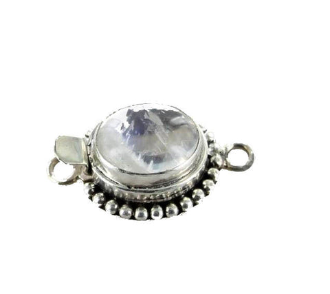 RAINBOW MOONSTONE CLASP 13x11mm Dot Design - New World Gems