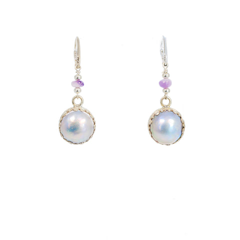 Mabe Pearl Earrings Lever Back 13mm Lavender Chalcedony