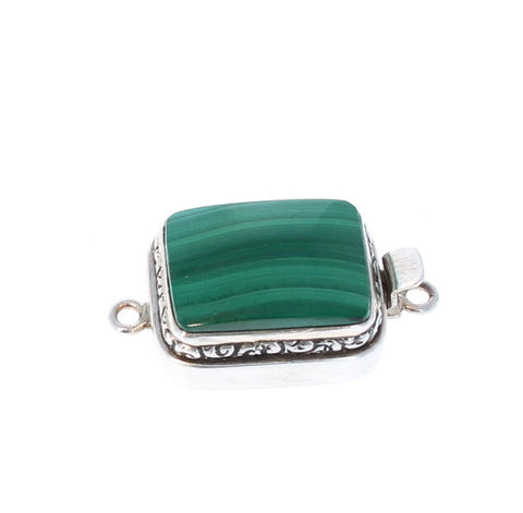 MALACITE CLASP LARGE CUSHION STERLING  16x19mm