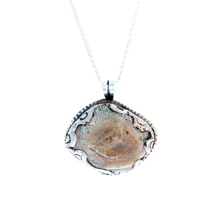 DRUSY PENDANT Champagne Color in Sterling Silver