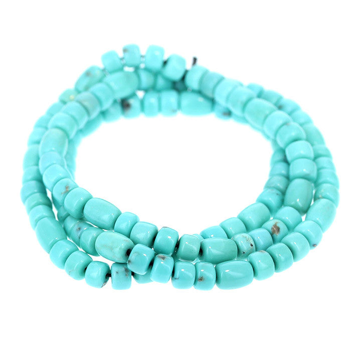 CAMPITOS MEXICAN TURQUOISE Beads Sky Blue Barrels Pueblos