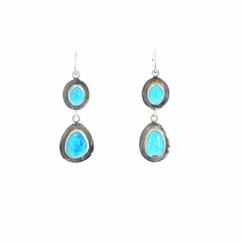 Morenci Turquoise Earrings 2 Stones Sterling Southwest