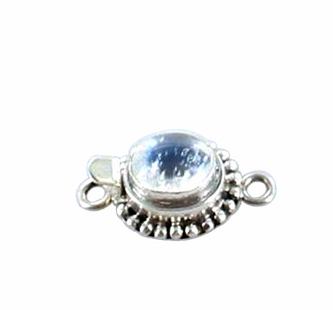 RAINBOW MOONSTONE CLASP 10.5x9mm Dot Design - New World Gems