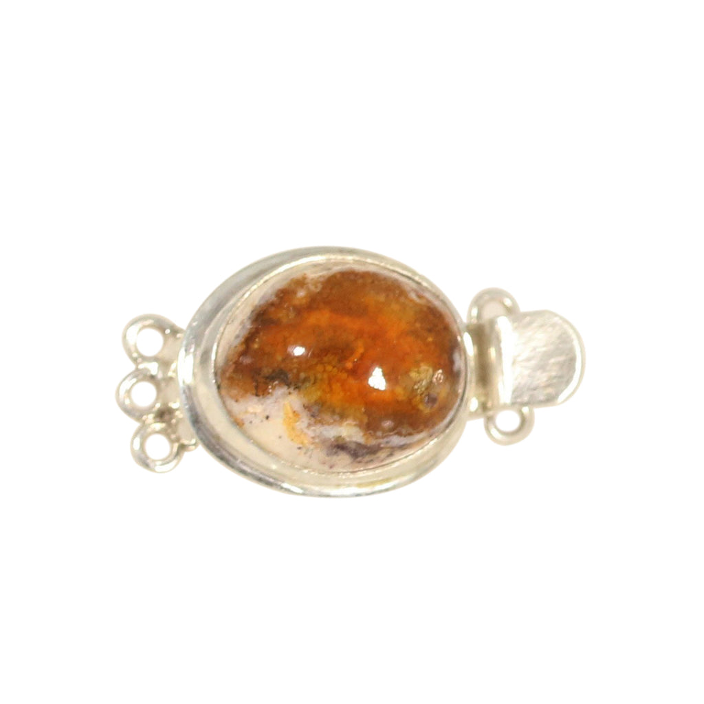 MEXICAN OPAL CLASP Orange 3 Strand Sterling Choose Stone