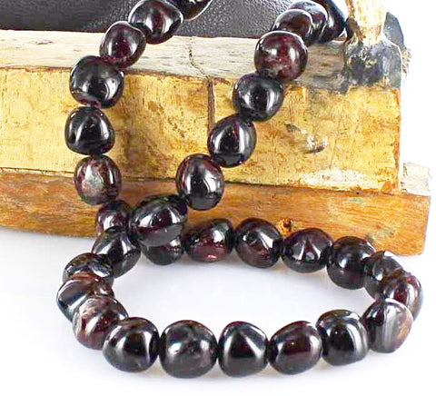 "GARNET BEADS 14mm Semi Round 16"" - New World Gems - 1"