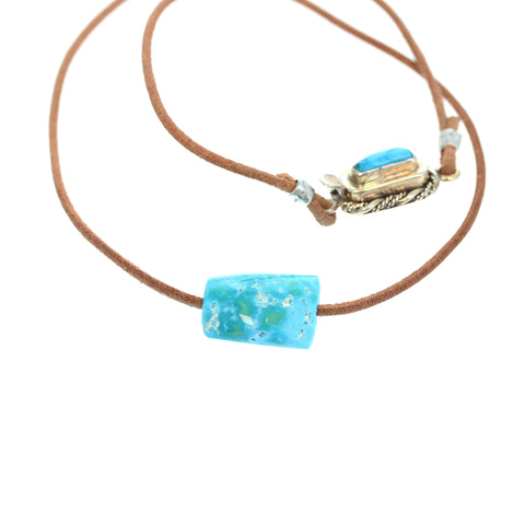 Tonopah Nevada Turquoise Necklace Bright Blue Leather Sterling