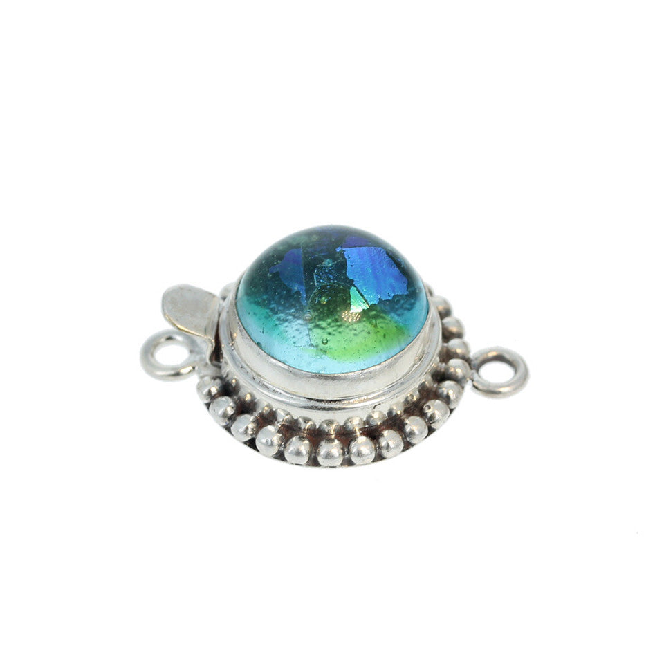 DICHRIOC GLASS Clasp Sterling Silver Blue Green 13mm