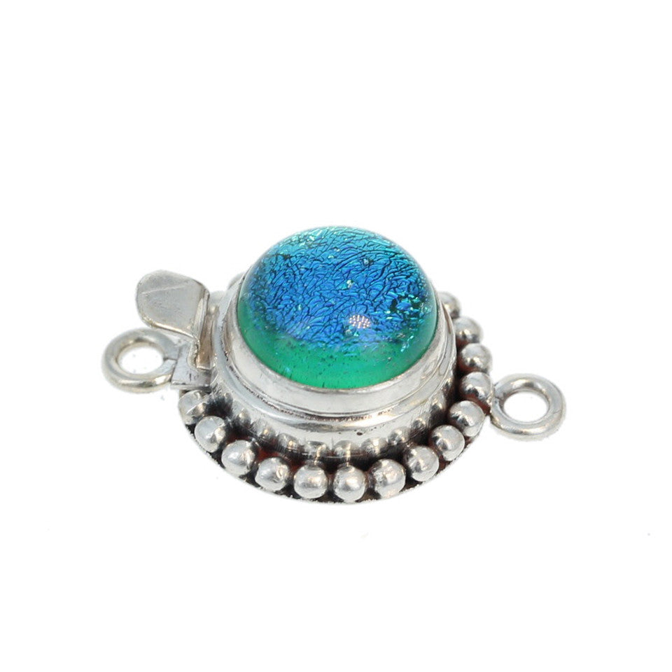 DICHRIOC GLASS Clasp Sterling Silver Blue Crackle Green 11mm