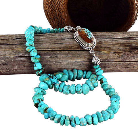 ARMENIAN TURQUOISE NECKLACE BLUE NUGGET BEADS - New World Gems - 1