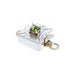 PERIDOT CLASP FACETED Square Etched Sterling Silver