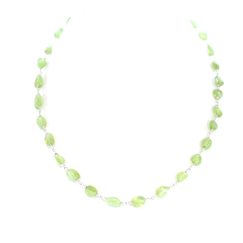 Peridot Chain Necklace Sterling 16-19""