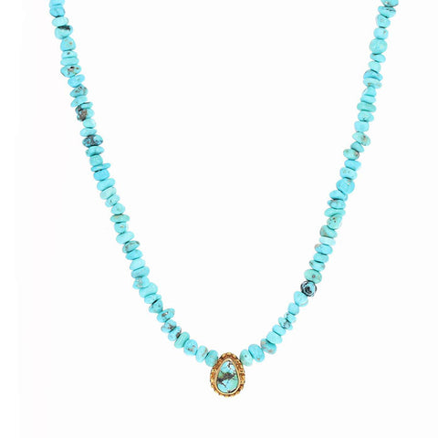 PERSIAN TURQUOISE NECKLACE 18K Gold Pendant 17""