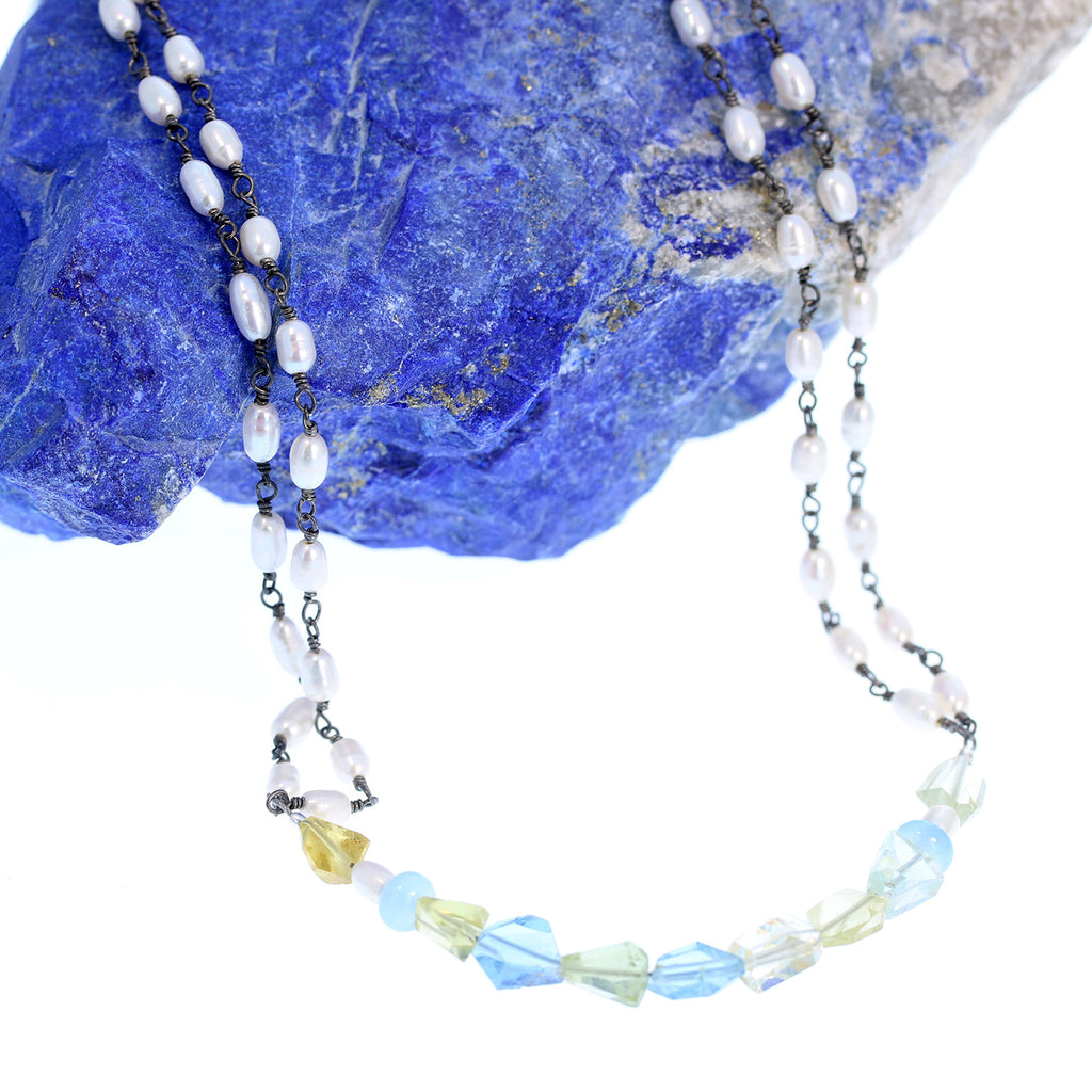 El Prado Aquamarine and Pearl Chain Necklace 22""