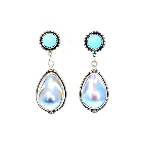 Sky Blue Turquoise and Mabe Pearl Earrings Post Style