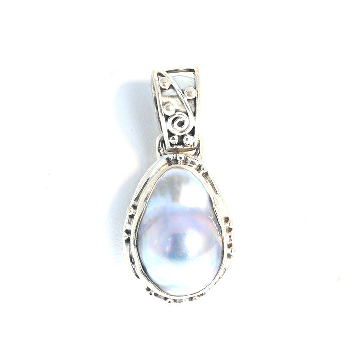 MABE PEARL Pendant Teardrop Necklace Sterling